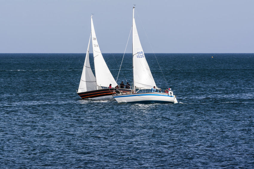 Beauty In Nature Blue Wave Boat Canvas Clear Sky Cornwall Day Falmouth Horizon Over Water Journey Mode Of Transport Nature Nautical Vessel Outdoors Regatta Rippled Sailboat Sailing Scenics Sea Seascape Tranquility Transportation Water Waterfront