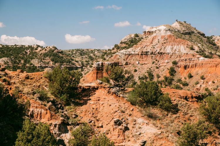Sky Mountain Tree Plant Nature Scenics - Nature Environment Day Landscape Built Structure Architecture Building Exterior Tranquil Scene Travel No People Beauty In Nature Rock Land Cloud - Sky Travel Destinations Outdoors Palo Duro Canyon, TX
