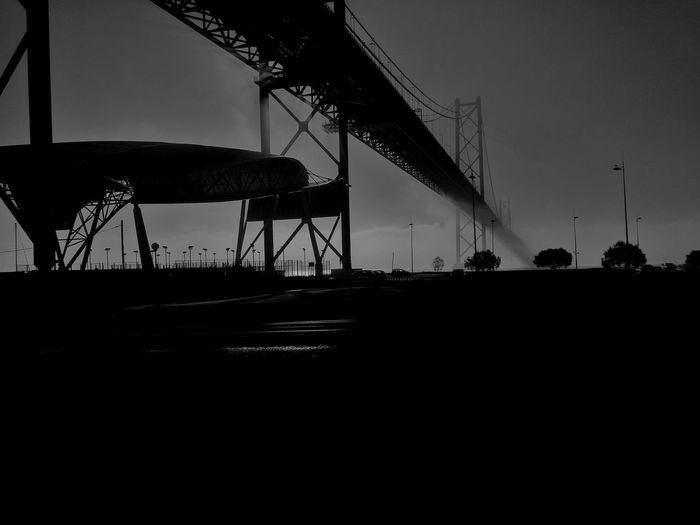 Portugal Outdoors Bridge Blackandwhite Morning Mist In Landscape Bridge - Man Made Structure Day Silhouette Photooftheday Sky Amusement Park Rollercoaster No People First Eyeem Photo