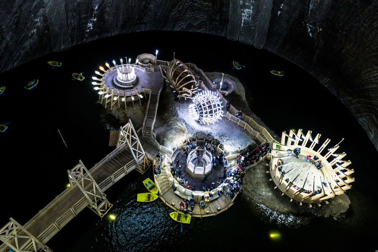 Adventure Aerial View Architectue Architecture Clock Colour Image Easter Europe Explore Illuminated Indoors  Indoors  Interior Lake Looking Down From Above Night No People Romania Salt Mine Time Tourism Transylvania Travel Turda Wide Angle