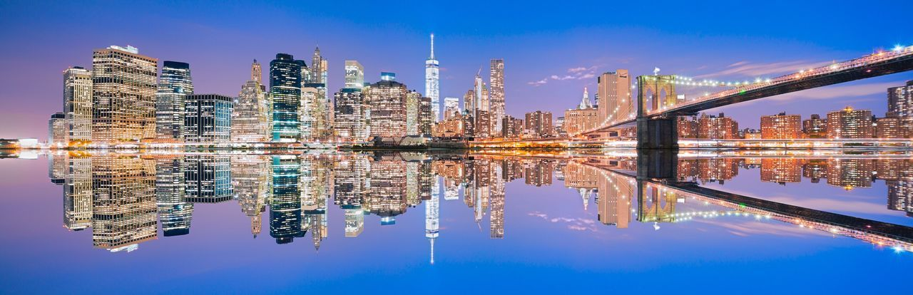 Reflection of city in water