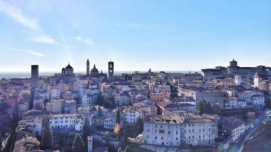 Building Exterior Architecture Outdoors Cityscape Built Structure Sky Day City No People Historical Building Architecture Ilovebergamo Bergamo, Italia High Angle View InTheSky Clear Sky Aerial View Cloud - Sky