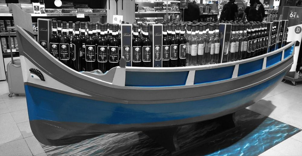 No People Gondola - Traditional Boat Day Wine Maltaairport Blue Black And White
