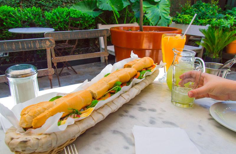 Close-up of a big sandwich