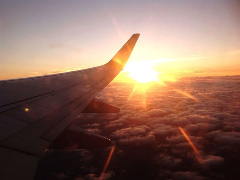Traveling Home For The Holidays Airplane Sun Sunset Sky Aircraft Wing Sunlight Beauty In Nature Flying Outdoors Airplane Wing Cloud - Sky Nature Canon Photography Hobbyphotography Hobby Day Impressive Beauty In Nature Photographer Photographyislife Transportation Lovephotography  Photooftheday
