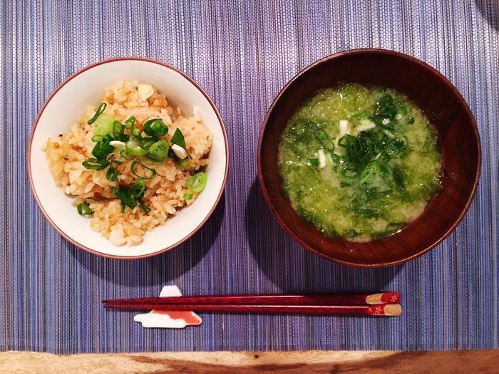 極めつけはガーリックライスとあおさのお味噌汁😋 Garlicrice Miso Soup Today's Dinner Cooking Foodporn SoDelicious