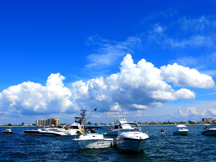 Beautiful Day Boat Races Boats⛵️ Clearwater Florida Cloudscape Dramatic Sky Outdoors Sunny Day❤ Water And Sky White Clouds And Blue Sky White Clouds On The Sea