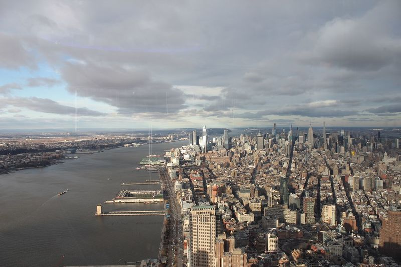 Landscape of Manhattan and the Hudson River from high up Hudson River Stunning New York City New Jersey High Up Vast Cloud - Sky Sky City Water Architecture Built Structure Building Exterior Cityscape High Angle View Day Crowd Building Transportation Aerial View Mode Of Transportation Outdoors