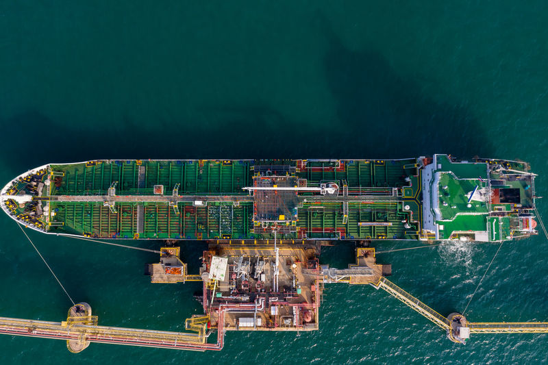 High angle view of shipping oil loading terminal bridge on the sea
