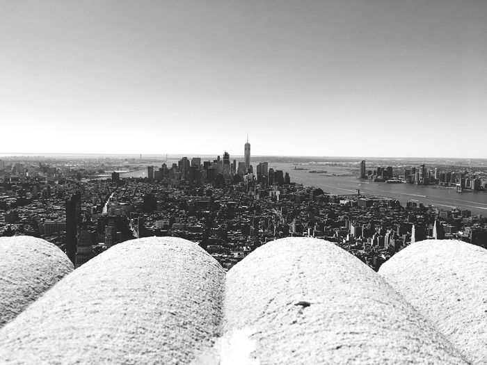 Architecture Copy Space Tranquil Scene Built Structure Tranquility Clear Sky Water Cityscape Nature Scenics Sky In Front Of Sea Surface Level Distant Beauty In Nature No People Wide Shot Horizon Manhattan New York City Monochrome Photography