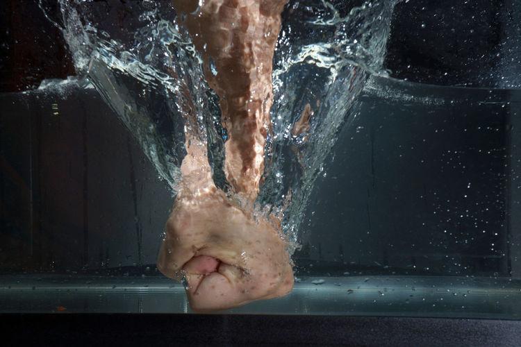 Close-up Punch Splash Underwater Water