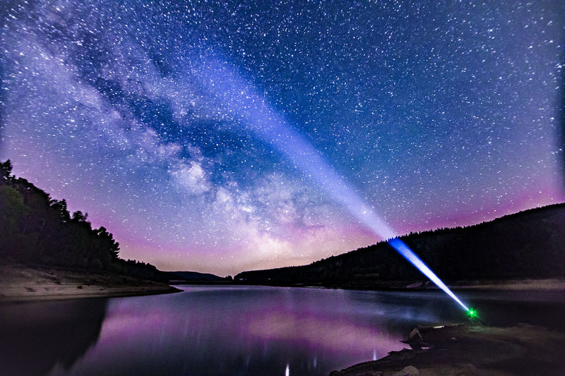 Purple Night Milky Way Galaxy Star - Space Reflection Lake Nature Landscape Water Astronomy Beauty In Nature Scenics Natural Parkland Mountain Sky Constellation Blue Space No People First Eyeem Photo Fresh On Market 2017