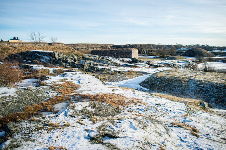 Beauty In Nature Cold Cold Temperature Day Finland Fortress Helsinki Nature No People Outdoors Scenics Sea Sky Snow Suomenlinna Tranquility Winter Wintertime