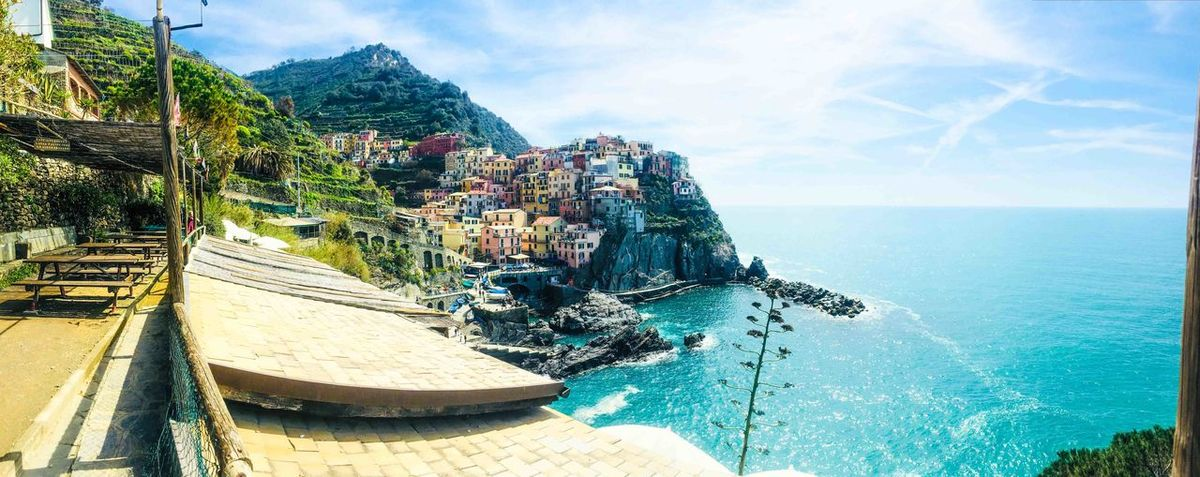 Cinque Terre Architecture Beauty In Nature Building Exterior Built Structure City Cloud - Sky Day Horizon Horizon Over Water Mode Of Transportation Mountain Nature Nautical Vessel No People Outdoors Sailboat Scenics - Nature Sea Sky Transportation Turquoise Colored Water
