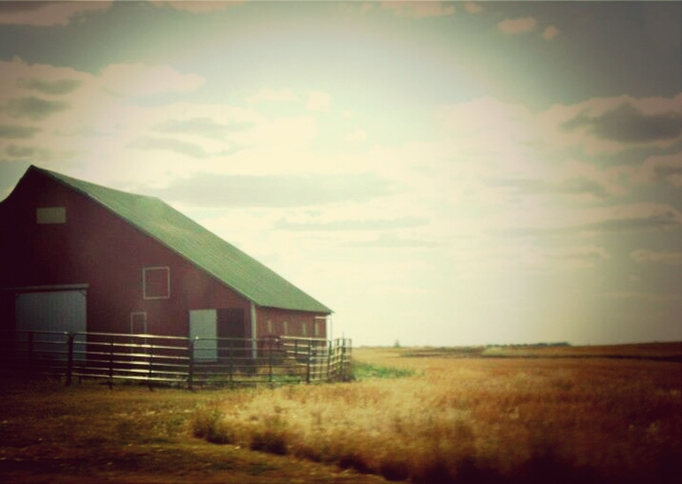 architecture, built structure, building exterior, sky, field, grass, house, cloud - sky, rural scene, landscape, grassy, cloudy, barn, farm, agriculture, cloud, nature, no people, outdoors, residential structure