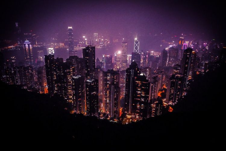 Hongkong Skyline Work Mood Vibes Mountain Contrasts Island ASIA Skyline Skyline Peek HongKong Night Illuminated Architecture Building Exterior Cityscape Built Structure No People City Skyscraper Sky Outdoors Modern The Graphic City