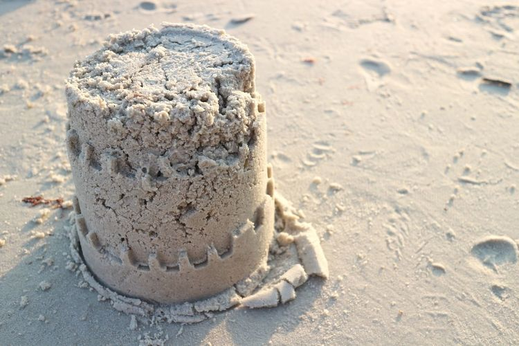 High angle view of sandcastle at beach