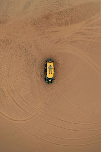 High angle view of  buggy car on desert