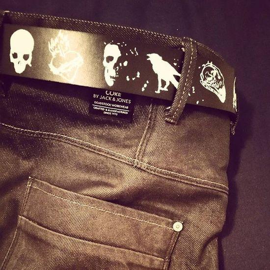 Fashion Jeans Belt  Jackandjones Skull Raven Blackbelt Manfashion
