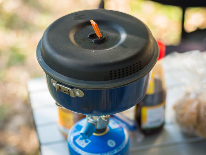 Close-up of camping stove
