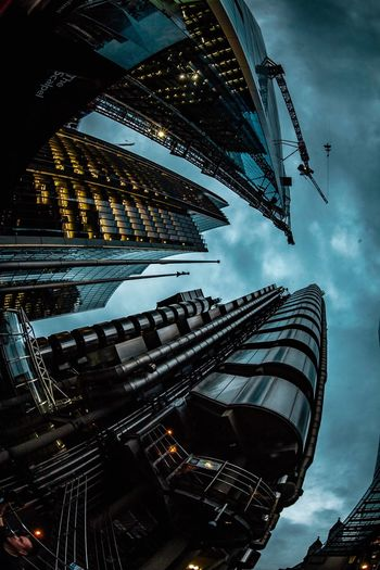 Architecture Building Exterior Low Angle View Built Structure Skyscraper City Sky Outdoors Travel Destinations Cloud - Sky No People Modern Day Cityscape London Night