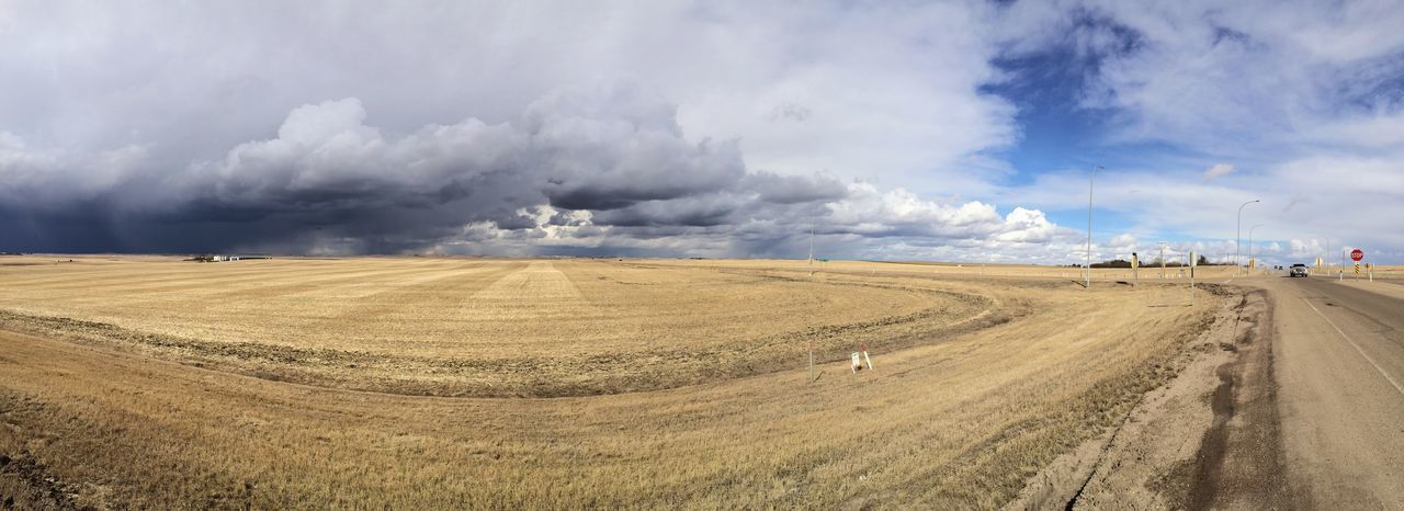 Panoramic view of field against cloudy sky