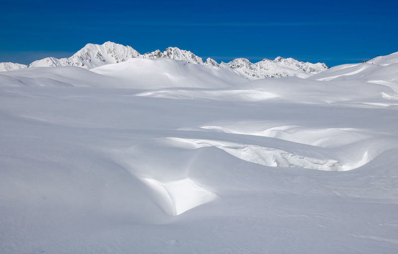 Scenic view of snowcapped mountains against sky in french alps