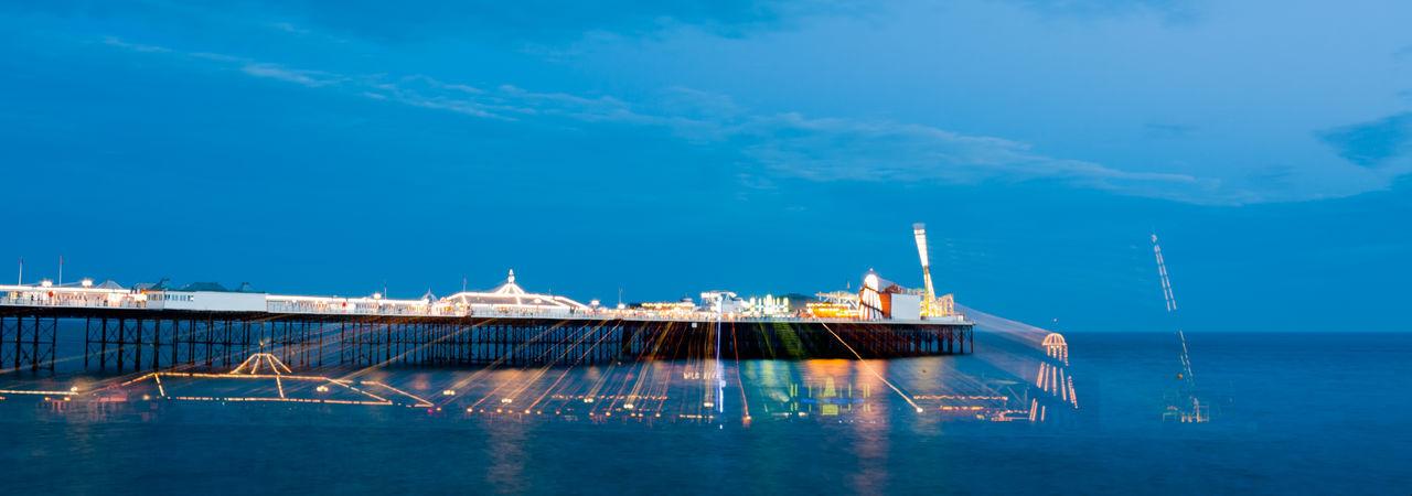 Brighton Brighton Beach Brighton Pier Lights Brighton Uk No People Sky Water