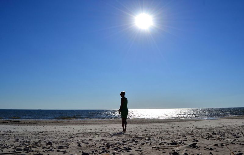 Women Clear Sky Sportsman Sea Full Length Beach Water Blue Sand Standing FootPrint Sandy Beach Sand Dune Arid Climate