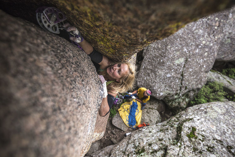 Pamela Shanti-Pack climbing 'Bad Girls Dream' in Vedauwoo, Wyoming. Rock Rock - Object Solid Climbing Rock Climbing Adventure Extreme Sports Challenge People Strength RISK Activity Leisure Activity Sport Rock Formation Nature Adult Outdoors Effort Skill