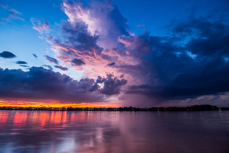 Long exposure Motion Storm clouds before the rain and colorful dramatic purple sky at sunset before storm in evening have reflection of Mekong River Nong Khai Province Thailand.Landscape Nature HDR Tone. Mekong River Mirror Water Reflections Beauty In Nature Blue Cloud - Sky Evening Long Exposure Nature No People Outdoors Purple Sky Reflection Refrection River Scenics - Nature Sky Sunset Sweet Tranquil Scene Tranquility Twilight Sky Twilightscapes Water Waterfront