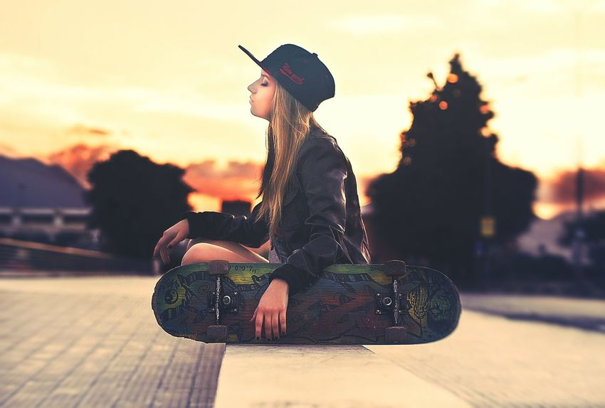 My Unique Style Swag Urban Fashion Skater Girl Street Fashion Sunset Relaxing Time Blonde Jacket Theportraitist-2016eyeemawards