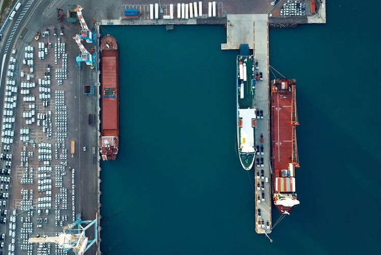 Aerial view of ship moored at harbor