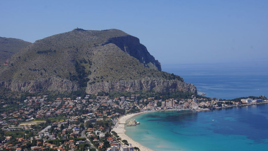 Sicily Architecture Bay Beach Beauty In Nature Blue Building Building Exterior Built Structure City Cityscape Clear Sky Day Land Mondello Mountain Nature No People Outdoors Residential District Scenics - Nature Sea Sky TOWNSCAPE Water
