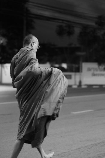 Monk walking towards the temple at around 4am Monk  Walk Morning Travel Blackandwhite Black & White Street Streetphotography Canon Canonphotography Thailand Buddhism Buddhism Culture Buddhist Monks EyeEmNewHere