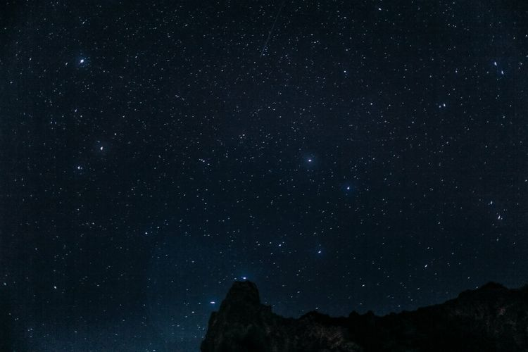 High Section Of Rocky Mountains Against Starry Sky