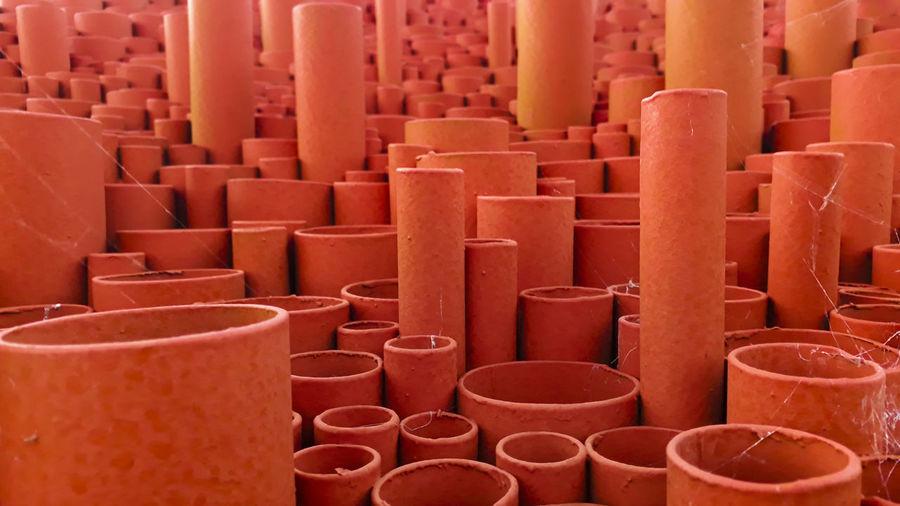Full frame shot of pipes at market stall