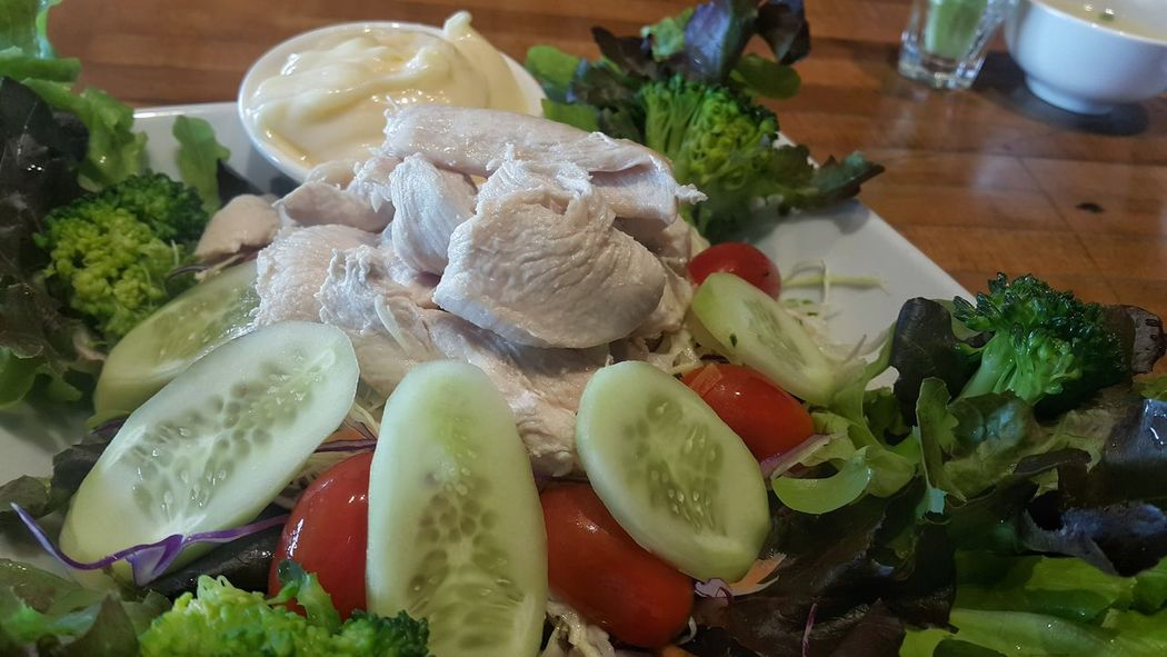 Food Freshness Food And Drink Healthy Eating No People Indoors  Close-up Salad Chicken Salad