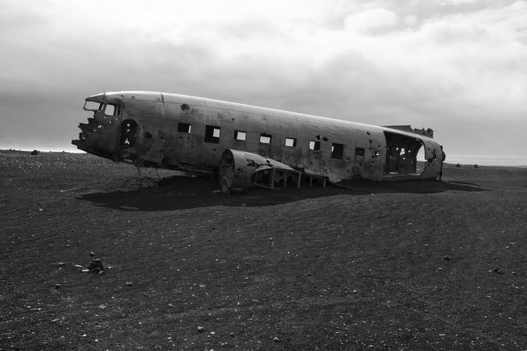 Crashed DC-3 Iceland DC-3 Abandoned Accidents And Disasters Airplane Beach Crash Damaged Day Destruction Deterioration Landscape Military Airplane Mode Of Transport Nature Navy Obsolete Old-fashioned Outdoors Propeller Airplane Run-down Sand Sky Transportation Travel
