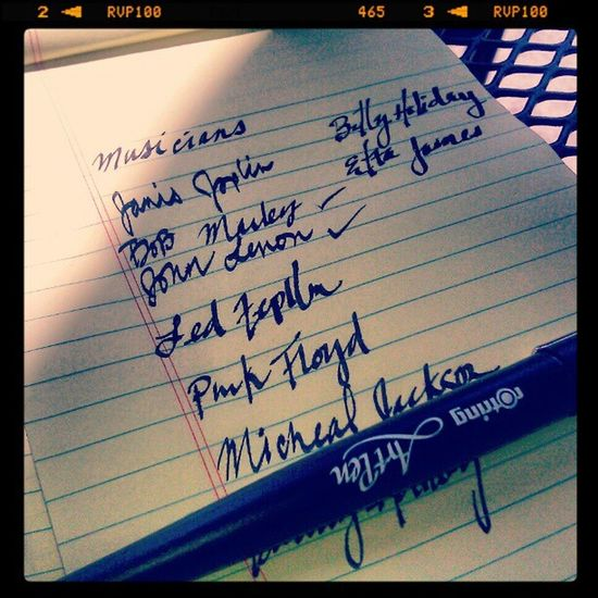 Making my list of music legends for my Halloffame wall for the pad