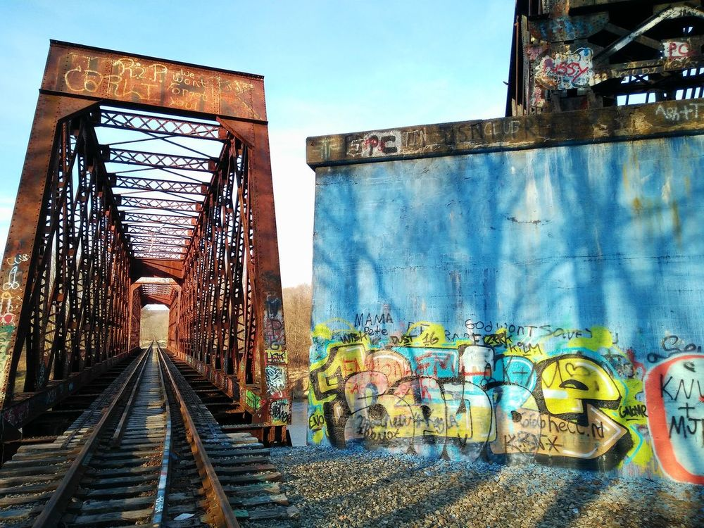 Old railroad bride with graffiti Railroad Track Railroad Bridge Bridge Woods Graffiti Colorful