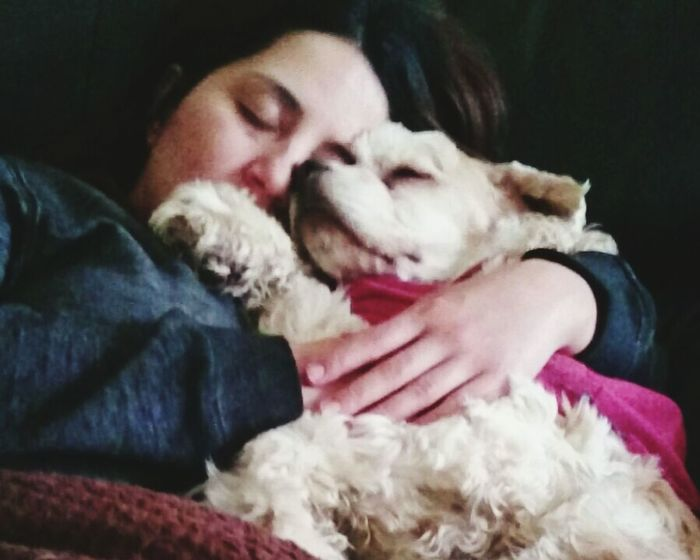 Best Dreams Eyes Closed  In The Night Snorking Hands On Humans Best Friend Hug Girl And Dog Sweet