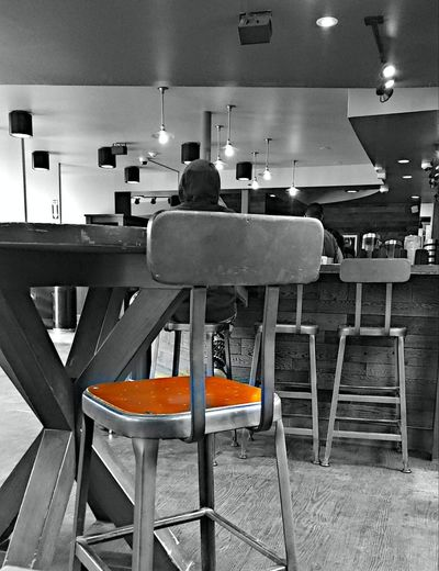 Hot seat? ~ Midday Loving The Landscape Lights And Reflection Red Color Black And White Color Splash My View Favorite Places In Portland Maine USA My Unique Style No People Color Of Life Lifestyles My City Hang Out Springtime Mood Lighting  Enjoying Life Coffeelover Chair Table Coffee Shop Stool Cafe Culture