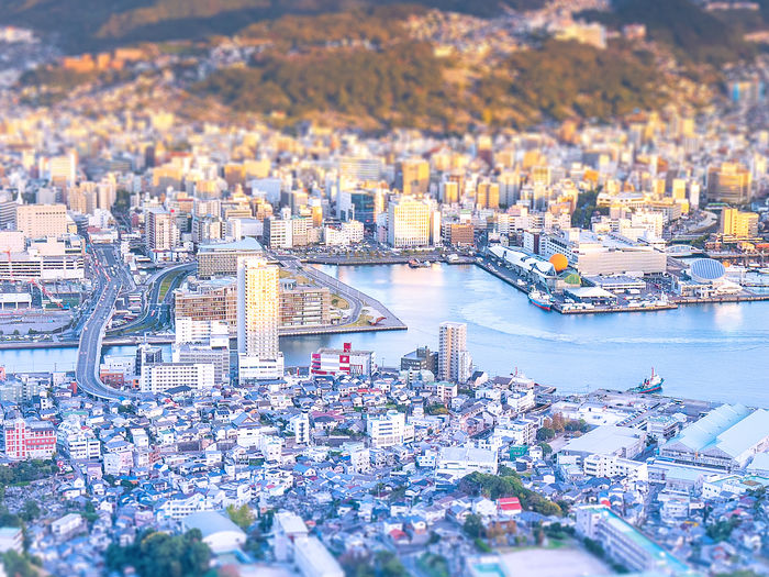 Business concept, tilt shift effect modern cityscape of nagasaki dusk from mount inasa, the new top 3 nightview of the world, aerial view, copy space Building Exterior City Cityscape Architecture Built Structure Building High Angle View Nature Outdoors Nagasaki Nagasaki JAPAN Japan Aerial View Tilt-shift Tilt Tilt-shift Phptography Tilt-Shift Photography Night View Effect Sunset Dusk Sasebo Mountain Golden Sky Golden Hour