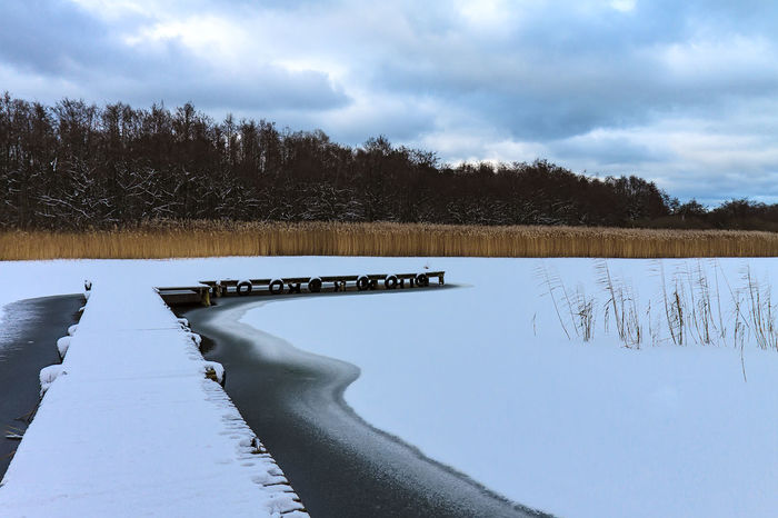 Winter in Prerow, Germany. Frozen Ice Relaxing Travel Winter Beauty In Nature Cold Temperature Day Fischland-darß-zingst Landing Stage Landscape Nature No People Outdoors Prerow Reeds Scenics Sky Snow Tourism Travel Destinations Vacation Water