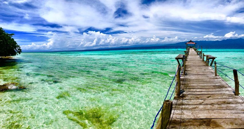 Bridge to Happiness Travel Photography Nature Photography Nature_collection Nature Ocean View Ocean Cloud - Sky Sea And Sky Sea Beachphotography Beach Pier Tranquil Scene Tranquility Jetty Vacations Horizon Over Water Travel Destinations No People Day Outdoors