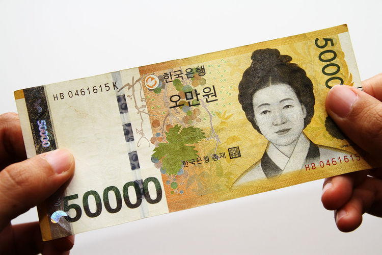 Korean Won as background Korean Won South Korea Body Part Close-up Cut Out Economy Finance Finger Hand Holding Human Body Part Human Finger Human Hand Indoors  Korea Bank Notes Leisure Activity One Person Personal Perspective Representation Studio Shot Text Unrecognizable Person White Background