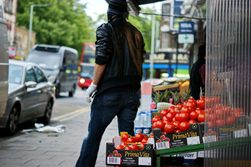 Food Food And Drink Fruit City Healthy Eating One Person Real People Day Street Retail  Wellbeing Market Incidental People Market Stall Freshness Motor Vehicle Mode Of Transportation Transportation Men Outdoors Sashalmi London
