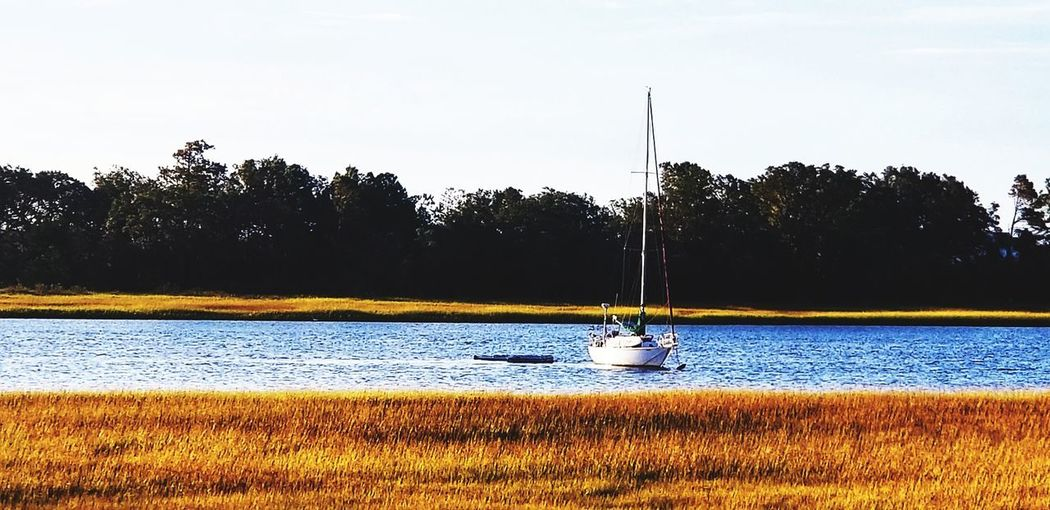 Sailboat Sailing Sail Away, Sail Away Anchored Intercoastal Waterway Morning Light Morning NC Ncphotography NCPhotographer Wrightsville Beach NC Wrightsville Beach Wrightsvillebeach Saltlife Note 8 Water Occupation Sky Mast