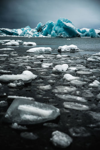 Surface level of frozen water on land